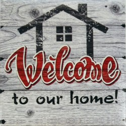 Canvas Welcome to our home 16x16